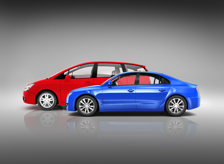 parked: Two Modern Cars with Different Style Parked Side ways  Stock Photo
