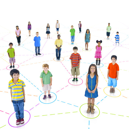 Multi-Ethnic Children Connected To Each Other  Stock Photo