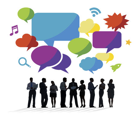 Business People Discussing with Speech Bubbles  photo