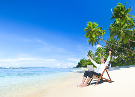 telecommuting: Happy Successful Businessman  Stock Photo