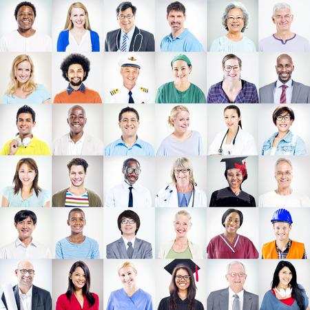 다민족 혼합 직업 사람들의 초상화 스톡 콘텐츠