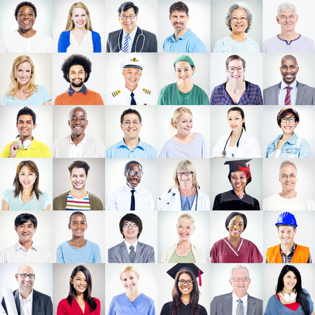 asian man face: Portrait of Multiethnic Mixed Occupations People Stock Photo