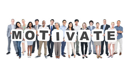 Group Of Multi-Ethnic Group Of Business People Holding Placards Forming Motivate Stock Photo
