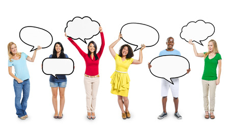 diverse people: Multiethnic Diverse People Holding Blank Speech Bubbles