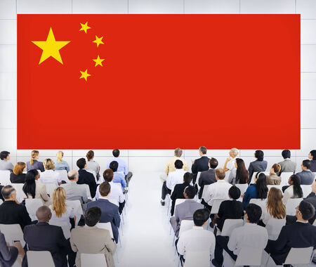 Large Business Presentation with Flag of China photo