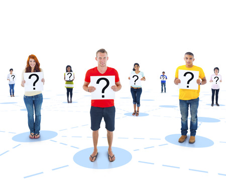Connected Multi-Ethnic People Holding a Question Mark Imagens