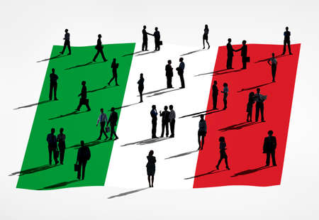 Italian flag and a group of business people  photo