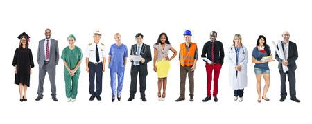 직업: 다민족 다양한 혼합 직업 사람들의 그룹
