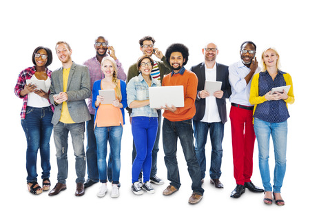 Group Of Multi-Ethnic Group Of People Holding Electronic Devices To Social Network