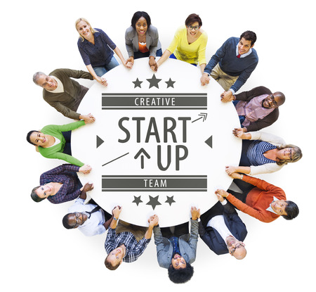 table top: Aerial View of Multiethnic People with Startup Business Concept Stock Photo