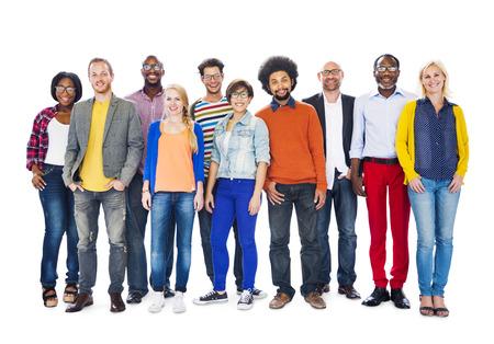 Groep van diverse mensen staan samen Stockfoto