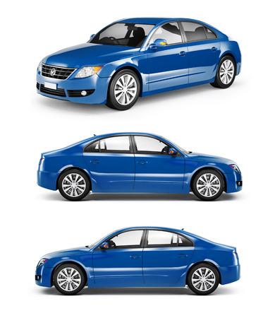 3D Blue Family Car photo