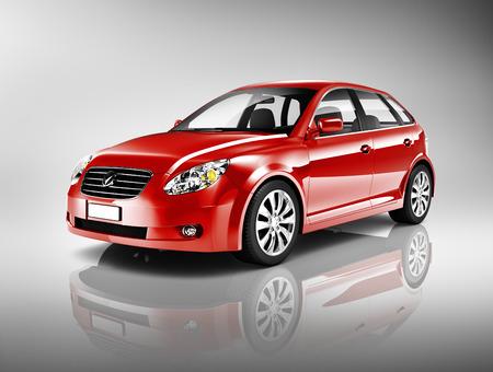 三次元形状の赤いセダンの車 写真素材