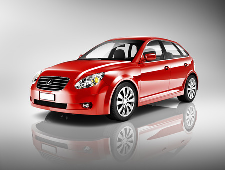 shiny metal background: Three-Dimensional Shape Red Sedan Car