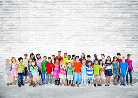 mixed age: Group of multi-ethnic happy children