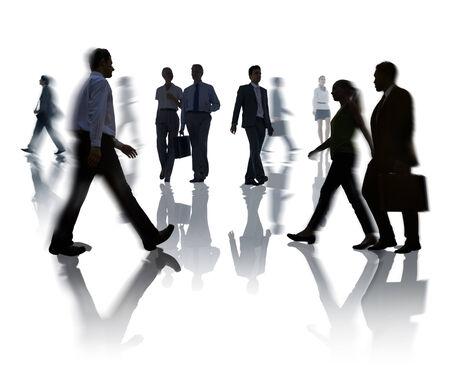 bewegung menschen: Silhouetten von Business und Freizeit Menschen Walking