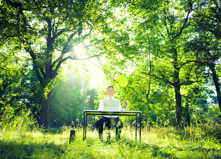 Businessman working with the nature
