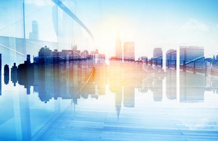 도시 장면과 고층 빌딩의 추상보기 스톡 콘텐츠