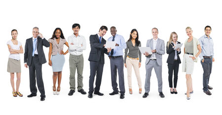 business networking: Multi-Ethnic Business People Working in a Row