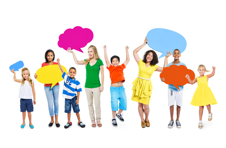 mixed age: Group of Multi-Ethnic Mixed Age People Holding Colorful Empty Speech Bubble Stock Photo