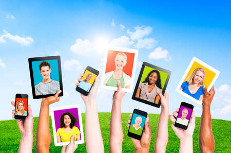 Profiles of Multi-Ethnic People in Electronic Devices for Social Media photo