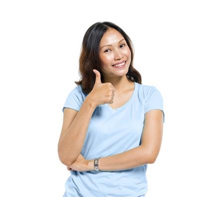 madre soltera: Las mujeres muestran los pulgares arriba Foto de archivo