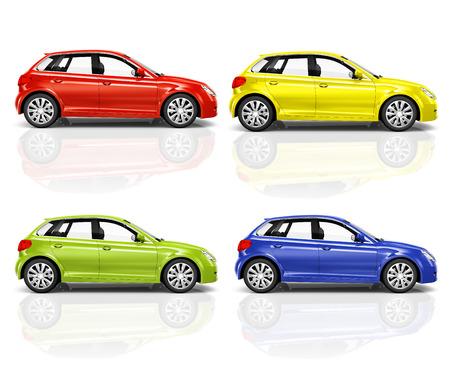 Set of 3D Hatchback Car  photo
