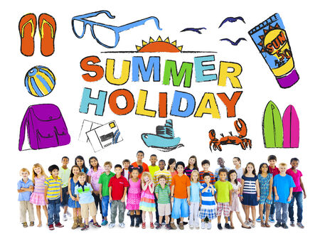 Group of Multiethnic Children with Summer Holiday Concept photo
