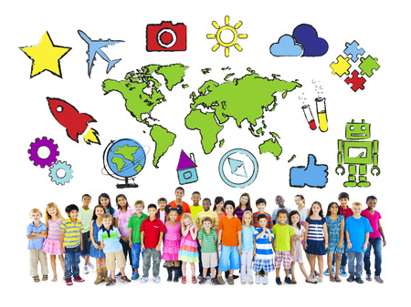 multiethnic: Multi-Ethnic Children with World Concept