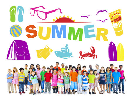 Group of Multiethnic Children with Summer Concept photo