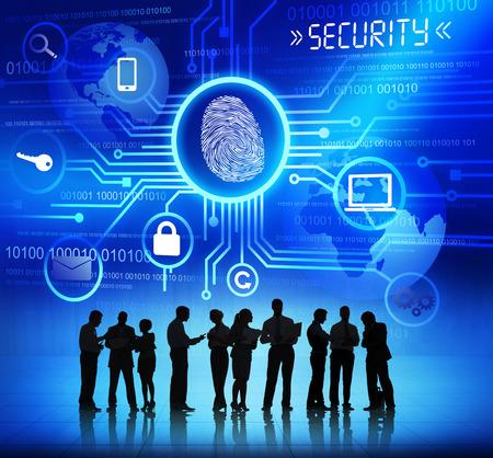 사업 사람들 및 보안 개념의 실루엣