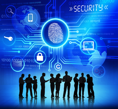 social security: Silhouettes of Business People and Security Concepts
