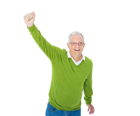 Cheerful Casual Mature Adult Celebrating photo