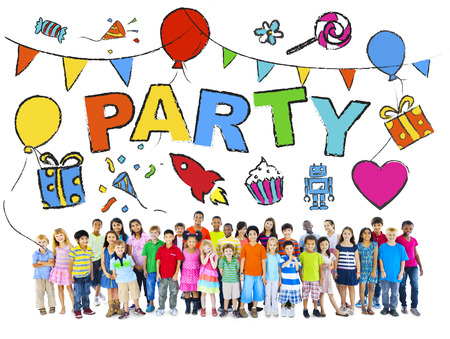 birthday party kids: Multi-Ethnic Group of Children with Party Concepts