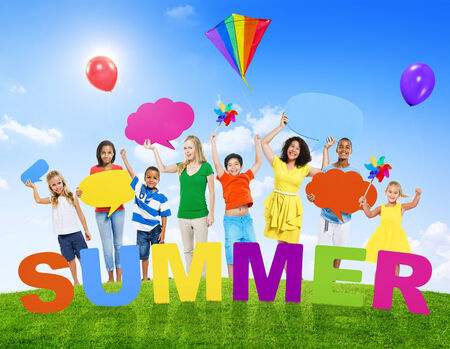 Multi-Ethnic Group of Mixed Age People and Summer Concepts photo