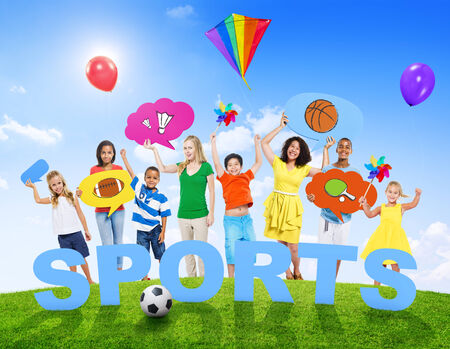 mixed age: Multi-Ethnic Group of Mixed Age People and Sports Concept