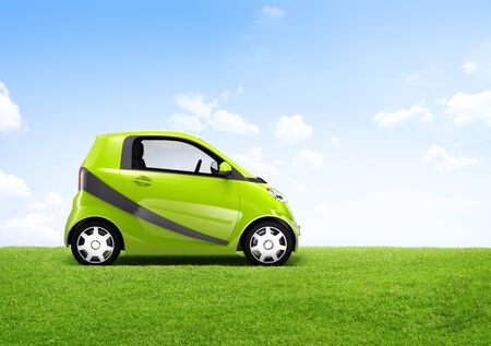 car side view: 3D Image of a Green Car on an Open Field Stock Photo