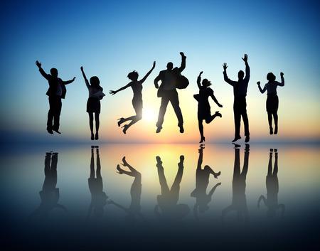 사업 사람들의 그룹 성공 축하