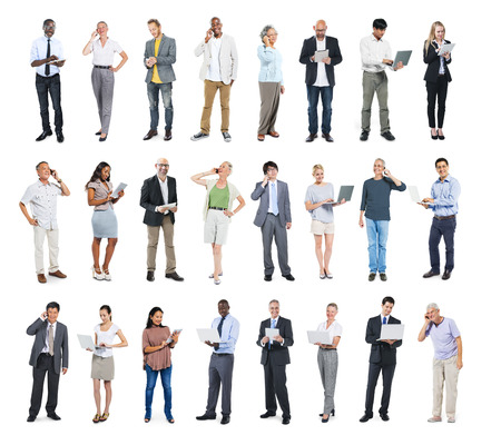 Multiethnic Group of Business People with Digital Devices Stock Photo