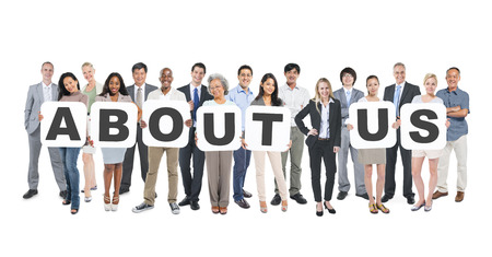 Group Of Multi-Ethnic Group Of Business People Holding Placards Forming About Us Stock Photo - 28862520