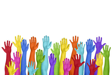 hands raised: Colorful Hands Raised