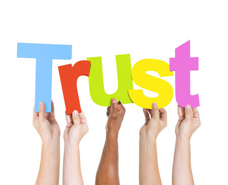 trust people: Diverse People Holding Single Word Trust