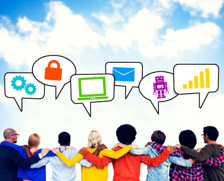 a rural community: Crowd with hands on their shoulders and speech bubbles containing symbols  Stock Photo