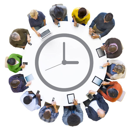 connection: Multiethnic People Using Digital Devices with Clock Symbol