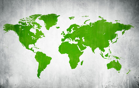 Green Cartography Of The World In A White Background photo