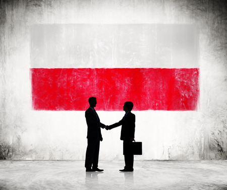 polish flag: Two Businessmen Shaking Hands With Polish Flag As A Background Stock Photo