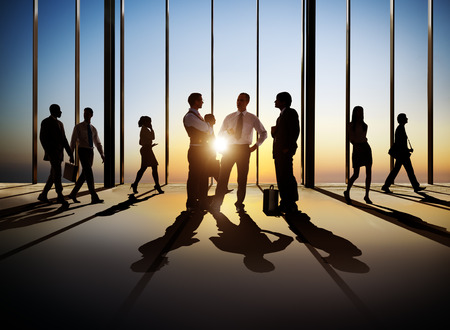 Group of busy business people in the building interior Stock fotó - 28862817