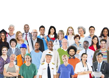 다민족 혼합 직업 사람들의 그룹