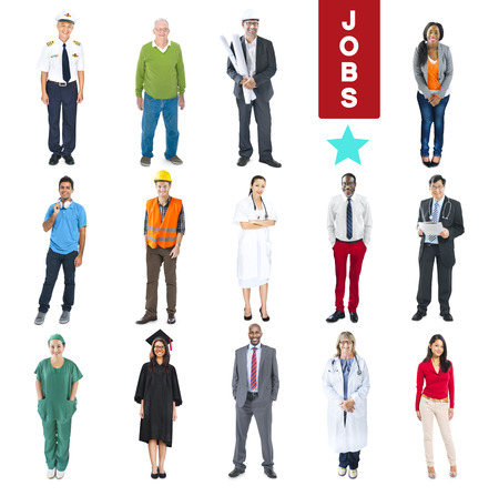 asian architect: Group of Multiethnic Diverse Mixed Occupation People Stock Photo