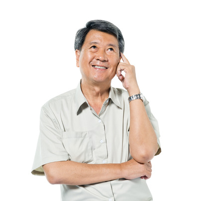 Fröhlich Alter asiatischer Mann Denken
